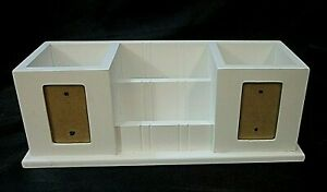 Solid Wood Desk Organizer Painted White Four 4 Compartments Photo Cut outs
