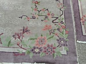 Matching Pair Hand Knotted Art Deco 1920s Oriental Fette Blossom Rugs