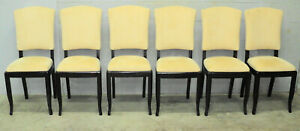 Lot Of 6 Antique French Art Deco Cream Velvet Dining Chairs