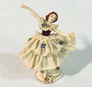 Vintage Dresden Ballerina Figurine With Porcelain Lace Blue Flowers Crown Mark
