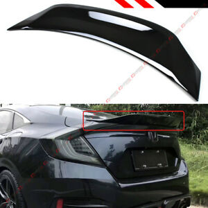 For 16 19 Honda Civic Sedan V3 Glossy Black Highkick Duckbill Trunk Spoiler Wing