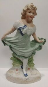 Antique German Bisque Gebruder Heubach 9 Dancing Girl Figurine Piano