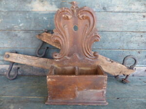 Antique Primitive Early Wood Carved Double Wall Box Original Crusty Finish Aafa