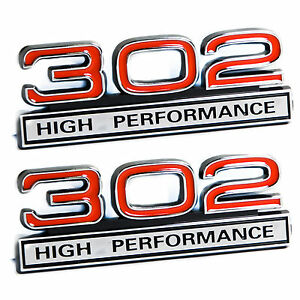 302 5 0l Engine High Performance Engine Emblems In Red Chrome 4 Long Pair