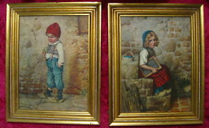 2 Vintage Marad Framed Pictures Dutch Girl And Boy W Wooden Shoes Retro Gems