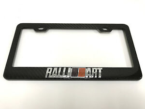 3d ralliart Handmade Real Carbon Fiber License Plate Frame Tag Cover 3k Twill
