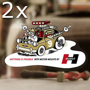 2x Pieces Hurst Motor Mounts Sticker Decal Old School Rat Hot Rod Aircooled 6 5