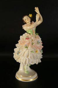 Antique Dresden Volkstedt Porcelain Figurine Woman Dancing