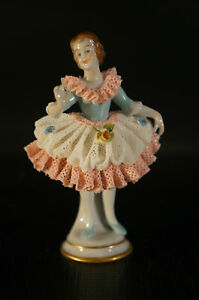 Antique Dresden Volkstedt 1762 Porcelain Figurine Lady Ballet Dancing