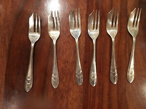 Vintage Silver Plate Pastry Appetizer Forks Sheffield Loxley 1940s Set Of 6