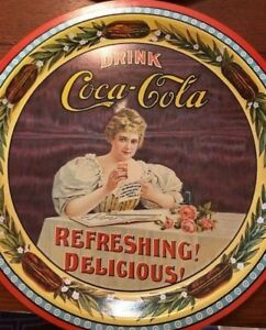 Set of 6 Vintage 1976 Drink Coca Cola Round 75th Anniversary Trays-numbered