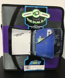 Case it 2 in 1 Zipper D ring Dual Binder 2 Sets Of 2 inch Rings Purple New