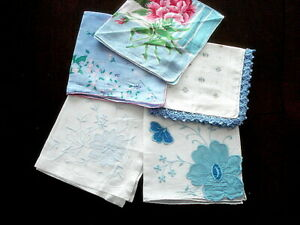 Vintage 5 Pretty Hankies Blues 2 Madeira Embroidered Applique 3 Print Flowers