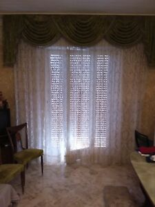 Italian Or French Pair Superb Antique Sheer Lace Curtains Panels