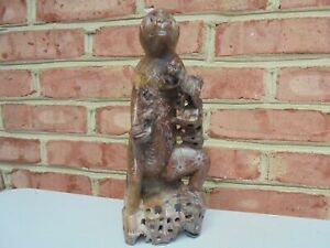 Old Vintage Antique Chinese Carved Etched Soapstone Monkey W Babies Figure 10 5