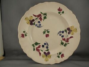 Old Antique 19th C Stick Spatter Style Staffordshire Pansy Plate 9