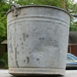 Vintage Antique Galvanized Metal Bucket Pail Wire Handle Farmtool Planter Garden