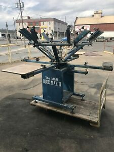 M r Blue Max 2 Manual Screen Printing Press 6 Color 4 Platen