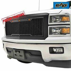 Eag 2014 2015 Chevy Silverado 1500 Grille Replacement Abs With 3 Amber Led Light