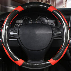 New Carbon Fiber Stitching Steering Wheel Cover Black And Red Non slip 38cm