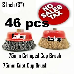 46 Wire Cup Brush Wheel 3 75mm For 4 1 2 115mm Angle Grinder Twist Crimped