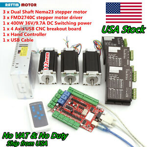 us 3 Axis Usb Cnc Controller Kit Nema23 Stepper Motor 112mm 425oz 4a 40v Driver