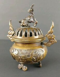 Antique Japanese Bronze Incense Burner 1800s Fu Dog