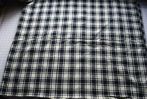 7219 Antique Early 19th Century Hand Woven Wool Blanket Black White Plaid