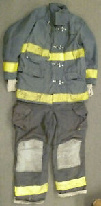 Globe Janesville Firefighter Set Jacket 44x35 Pants 44x33 Black Turnout Gear S51