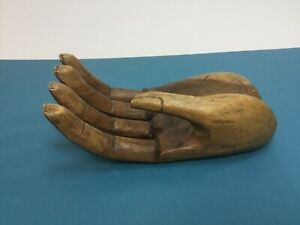 Carved Wooden Hand Sculpture Of Large Human Hand Mahogany Very Unusual