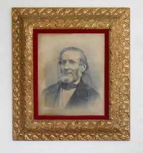 Antique Large Gesso On Wood Gold Painted Picture Frame From 1880s