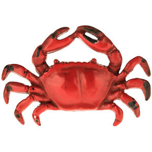 Red Crab Cast Pewter Drawer Cabinet Pulls Knobs Nautical Home Decor Set Of 2