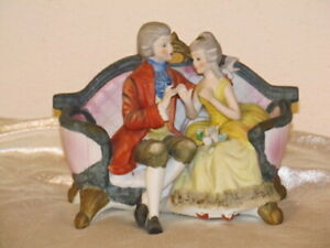 Royal Crown Gucci Porcelain Bisque Victorian Couple Figurine On Couch Nice
