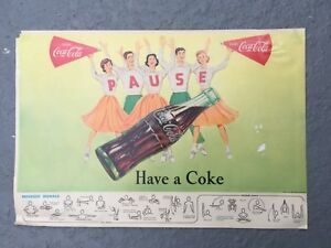 1957 Coca Cola Football Program Centerfold Ad Cheerleaders Referee Signals