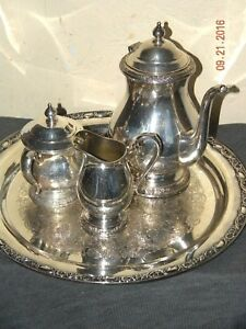 Tea Set Silver International Coffee Co Plated Company Piece 4 Vintage Tray Plate