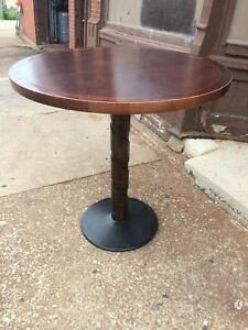 Custom Solid Wood Swirl Column Bar Height Or Counter Ht Table 42 Ht X 42 W