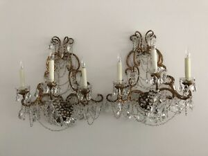 Italian Antique Gilded Crystal And Beaded Wall Sconces