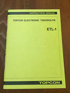 Topcon Electronic Theodolite Etl 1 Instruction Manual Surveyor