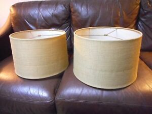 Pair Of Mid Century Modern Retro Style Burlap Drum Lamps Shades