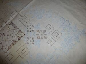 Vintage Fine Linen Tablecloth 98 X 66 W Hand Embroidery Drawnwork In Blue