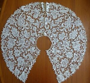 Antique Large 32 Venetian Rose Point De Venice Ecru Needle Lace Bertha Collar