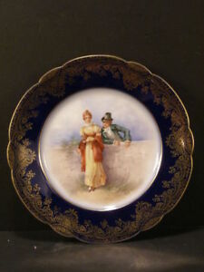 19th C French Limoges Hand Painted Portrait Portrait Plaque Plate Charger Girl