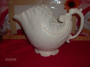 Large White Concho Shell Vase Pitcher With Sea Horse Handle