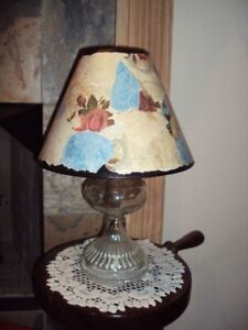 Vtg Clear Glass Oil Kerosene Lamp Clip On Shade Converted To Electric