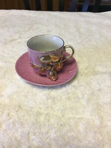 Antique Germany German Miniature Porcelain Tea Cup Saucer Hand Painted