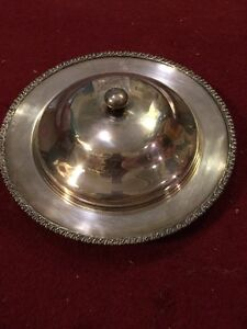 Silver Plate 14 Inch Covered Serving Dish With Nice Engraving