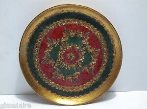 Vintage Florentine Wall Plaque Picture Gold Gilt 6 Red Green Gold
