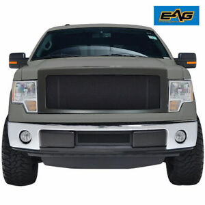 Eag For 09 14 Ford F150 Front Grille Matte Black Stainless Steel With Abs Shell