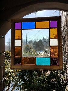 Antique Original Queen Anne Stained Glass Window From A Coal Town Victorian