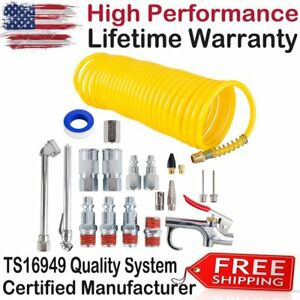 Air Compressor Accessory Kit 20 Pcs Tool Set 25 Ft Recoil Hose Nozzle Attachment